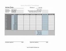 Semi Monthly Timesheet Semi Monthly Timesheet With Daily Pto Calculation