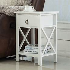white sofa end side bedside table nightstand storage wood