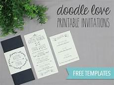Free Diy Wedding Invitations Templates Doodle Love Printable Wedding Invitation Set