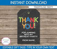 Party Favor Tag Trampoline Party Favor Tags Thank You Tags