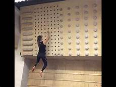 Pegboard Climbing Wall Climbs Up Wall With Pegs