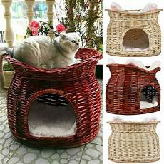 2 tier wicker cat bed pet pod small dogs animal house