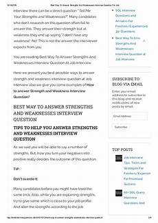 Strength And Weakness Interview Question Best Way To Answer Strengths And Weaknesses Interview