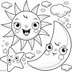 Malvorlagen Sonne Mond Und Sterne Sun Moon And Coloring Page Stock Illustration