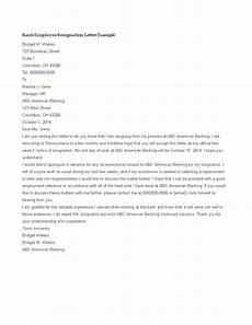 Bank Resignation Letter Bank Employee Resignation Letter Template Templates At