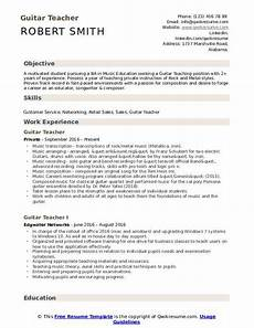 Music Teacher Resume Sample Guitar Teacher Resume Samples Qwikresume