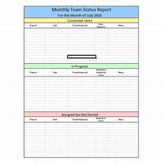 Team Status Report Template Sample Team Monthly Report Template In Excel Free