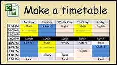 Make A Timetable For Me How To Make A Timetable In Excel Youtube