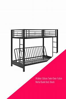walker edison futon metal bunk bed black