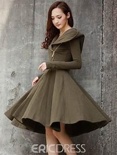 ericdress hooded zipper pleated knee length casual dress