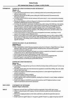 Communication Technician Resume Communication Technician Resume Samples Velvet Jobs