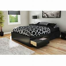 size modern platform bed with 3 storage drawers in