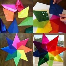 sterne aus transparentpapier basteln als weihnachtsdeko