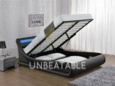 led ottoman faux leather king size bed designer