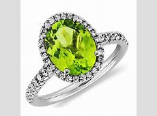 Peridot and Diamond Halo Ring in 18k White Gold (10x8mm