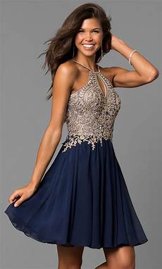 navy blue high neck a line homecoming dress promgirl