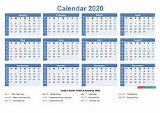 Week Calendar Free Printable Yearly 2020 Calendar With Holidays As Word
