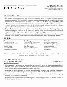 Acquired Skills Resume Accounting Resume Sample Cv Sample For Accountants