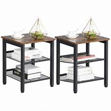 yaheetech end table with 2 tier mesh shelves industrial