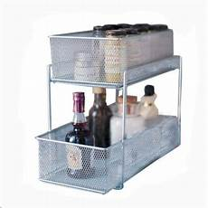 ybmhome 2304 two tier mesh sliding cabinet basket pantry