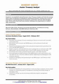 Treasury Resume Treasury Analyst Resume Samples Qwikresume