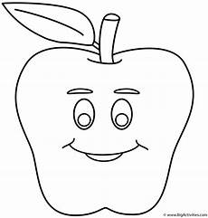 apple with smiley coloring page fruits and vegetables