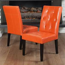 orange accent chair set of 2 contemporary orange leather dining chair w tufted