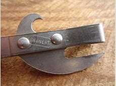 Vintage Can Opener Red Wood and Metal Gronert