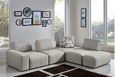 Modular Sectional Sofa For Living Room 3d Image by Divani Casa Platte Modern Grey Fabric Modular Sectional