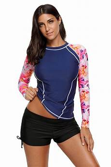 womens tops 3 4 sleeve rashguard floral sleeve rashguard top with images