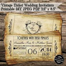 Vintage Party Invitation Vintage Ticket Wedding Invitations Printable Diy Jpeg Pdf