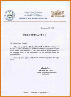 Company Certification Sample Sample Certification Letter Philippines Certificate