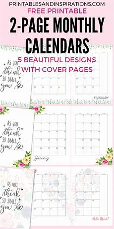Two Month Calendar 2020 2020 Monthly Calendar Two Page Spread Free Printable