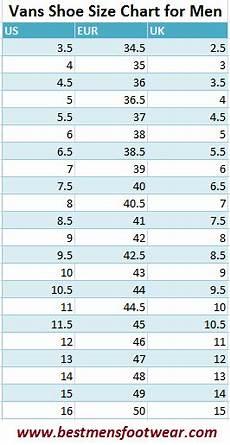 Vans Men S Shoe Size Chart Guide Best Mens Footwear
