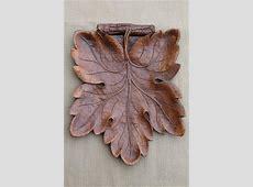 vintage Syroco Wood leaf shaped tray, rustic 'carved' wood