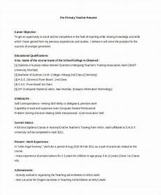 Primary School Teacher Resumes Teacher Resume Examples 26 Free Word Pdf Documents