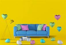 Air Sofa Yellow Blue 3d Image by 3d Render Of Yellow Studio With Sofa Balloon Premium