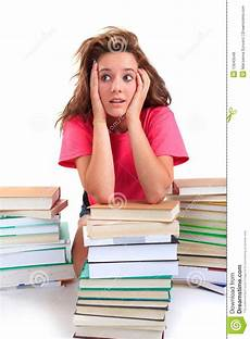 Download Teenagers Stressed Teenager With Books Stock Photo Image Of