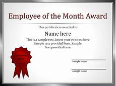 Employee Award Templates Free Employee Of The Month Certificate Template Shatterlion Info
