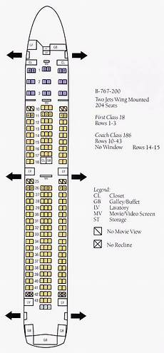 Boeing 767 400 Seating Chart Airline Seating Charts Boeing Airbus Aircraft Seat Maps