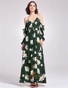 sleeve floral dress straps green spaghetti v neck ankle length floral dress