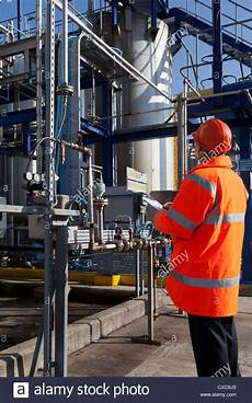Chemical Plant Operator Chemical Plant Process Operator Worker Checking Safety