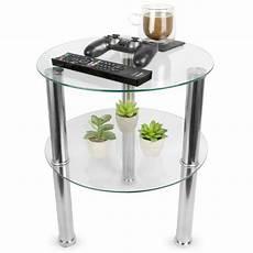 small glass 2 tier table sofa side storage shelf