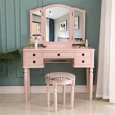zimtown vanity makeup dressing table set w stool 5 drawer