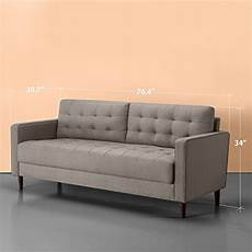 zinus benton mid century upholstered 76 inch sofa living