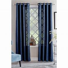 Target Light Filtering Curtains Shop Allen Roth Janston 95 In Blue Cotton Grommet Light