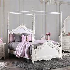 White Bed Canopy Traditional Wood Canopy Bed In White By