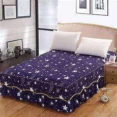 2018 new pattern bed skirt polyester bed cover fitted