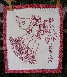 Christmas Angel Designs A Lovely Embroidered Holiday Angel In Redwork