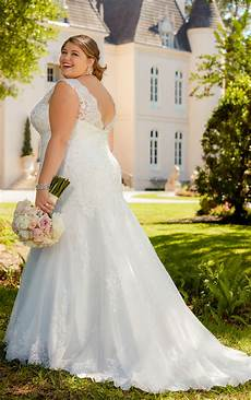 lace fit and flare plus size wedding gown with silver